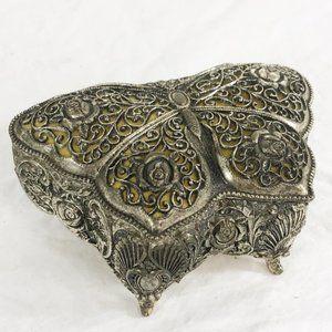 Vintage Sankyo Butterfly Wind Up Metal Jewelry Box